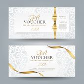Set Of Stylish White Gift Vouchers With Golden Ribbons, Bow And Silver Vintage Floral Pattern. Vecto poster