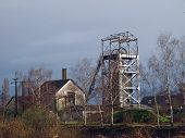 stock photo of anjou  - Trelaze old slate mine chevalement - JPG