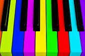 Top View Of Multicolored Piano Keys. Close-up Of Piano Keys. Close Frontal View. Piano Keyboard With poster