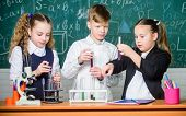 Little Children. Science. Chemistry Science. Biology Experiments With Microscope. Little Girls And B poster