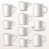 Cup Empty Mugs For Coffee Or Tea For Branding And Simple Teacup Of Various Shapes Illustration Set O poster
