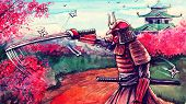 Painting Fantasy Japanese Watercolor Landscape With Samurai Battle, Hand Drawn Fantasy Art, Is Made  poster