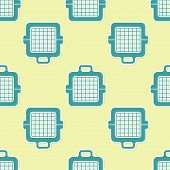 Green Pet Carry Case Icon Isolated Seamless Pattern On Yellow Background. Carrier For Animals, Dog A poster