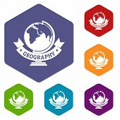 Geography Icons Colorful Hexahedron Set Collection Isolated On White poster