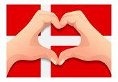 Denmark Flag And Hand Heart Shape. Patriotic Background. National Flag Of Denmark  Illustration poster