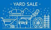 Yard Sale Banner. Outline Illustration Of Yard Sale Banner For Web Design poster