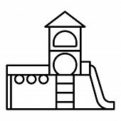 Kid Playground Complex Icon. Outline Kid Playground Complex Icon For Web Design Isolated On White Ba poster