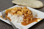 pic of marsala  - one serving of a spicy chicken tikka marsala over basmati rice - JPG