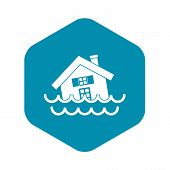 House Sinking In A Water Icon In Simple Style Isolated Illustration poster