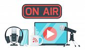 On Air Sign Color Vector Illustration. Record Studio Devices, Headphones, Microphone, Headset, Lapto poster