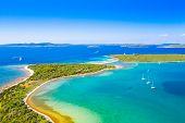 Beautiful Blue Sea Paradise, Archipelago On The Island Of Dugi Otok In Croatia, Aerial Seascape poster