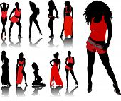 stock photo of stripper shoes  - woman silhouettes in red - JPG