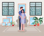 Pregnancy Couple In Livingroom Scene Vector Illustration Design poster