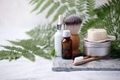 Different Eco Friendly Cosmetic Products In Bathroom. Minimizing Ecological Footprint Concept. Bambo poster