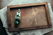 Top View Wooden Tray With Evergreen Tree Toy poster
