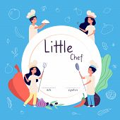 Kids Cook Background. Kids Cooks Background. Children In Chef Hat Cooking Food In Kitchen. Culinary  poster