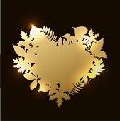 Vector Of Illustration Golden Heart Shaped Frame Of Autumn Fall Leaves With Gold Texture And Lights  poster