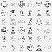 Angry Icons Set. Outline Style Of 36 Angry Vector Icons For Web For Any Design poster