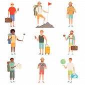 Adventure People. Outdoor Characters Backpackers Male Explore Nature Happy Travellers Vector Cartoon poster