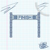 Ribbon In Finishing Line Line Sketch Icon Isolated On White Background. Symbol Of Finish Line. Sport poster