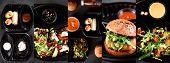 Collage Vegetarian Delivery. Delivery Vegan Burger, Vegetable Rolls, Vegetables, Salads And Pasta In poster
