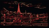 Vector Hand Drawing Illustration Of Eiffel Tower (paris, France). Landmark Of Paris. Cityscape With  poster