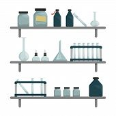 Scientific Chemical Laboratory. Wall Shelves With Scientific Tools. Burner, Test Tube, Flask, Chemic poster