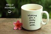 Hello Monday Greetings With A Smile Face Emoticon - Wishing You A Really Great Week.  With White Mug poster