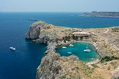 Saint Paul Bay Near Old Town Lindos. Rhodes Greece Europe. Bay In The Shape Of A Heart poster
