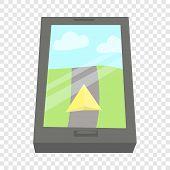 Gps Navigation Icon. Cartoon Illustration Of Gps Navigation Vector Icon For Web Design poster