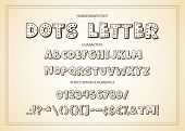 Cute Hand Drawn Dots Display Vector Alphabet Abc Font With Letters, Numbers, Symbols. For Calligraph poster