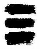 Brush Strokes Set, Isolated White Background. Black Paint Brush. Grunge Texture Stroke Line. Art Ink poster