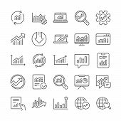Analytics, Statistics Line Icons. Set Of Report Document, Chart And Graph Icons. Data Analytics, Pre poster