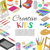 Kids Created Art, Education, Creativity Class Concept. Vector Banner, Poster Or Frame Background Wit poster