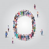 Big People Crowd Gathering In Shape Letter O Different Occupation Employees Group Standing Together  poster
