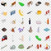 World Tour Icons Set. Isometric Style Of 36 World Tour Icons For Web For Any Design poster