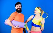 Man And Woman With Yoga Mat And Sport Equipment. Workout And Fitness. Girl And Guy Live Healthy Life poster