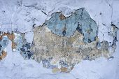 Abstract Background And Texture Of Cracked Painted Wall. Cracked Concrete Vintage Blue Wall Backgrou poster
