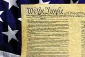 pic of bill-of-rights  - Preamble to the Constitution of the United States and American Flag - JPG