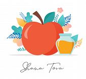 Rosh Hashana, Jewish Holiday, New Year Scene With An Apple, Honey, Flowers And Leaves. Flat Cartoon  poster