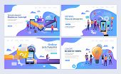 Landing Pages Template Set For Business, Finance, Resurce Management, Partnership Agreement Concept. poster