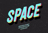 Space Typeface 3d Bold Colorful Style. Alphabet Cool Colorful Trend Style. Font Modern Typography Fo poster
