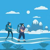 Tourists Cute Couple In Love Performing Outdoor Touristic Activity - Adventure Travel, Hiking Walkin poster