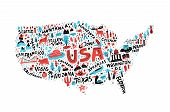 Usa Map Flat Hand Drawn Vector Illustration. American States Names Lettering And Cartoon Landmarks,  poster