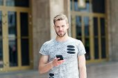 Mobile Lifestyle. Caucasian Guy Using Mobile Phone Outdoor. Handsome Man With Personal Mobile Device poster