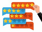 Chat Clouds With Golden Stars. Reviews Five Stars. Testimonials, Rating, Feedback, Survey, Quality A poster