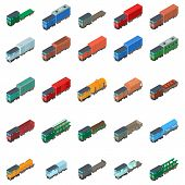 Railway Carriage Icons Set. Isometric Set Of 25 Railway Carriage Icons For Web Isolated On White Bac poster