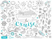 Graphic Set Of Elements. Journey On A Cruise Ship. Package Tour. Vector Illustration On The Theme Of poster