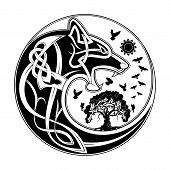 Vector Illustration Of The Scandinavian Myths. Symbols Of Vikings - A Wolf And A Raven. Celtic Patte poster