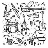 Hand Drawn Set Of Music Instruments. Ink Style Vector Illustration On White Background. poster